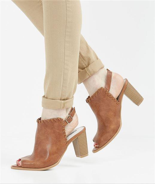 Chaussures femme à talon et bout ouvert CAMEL