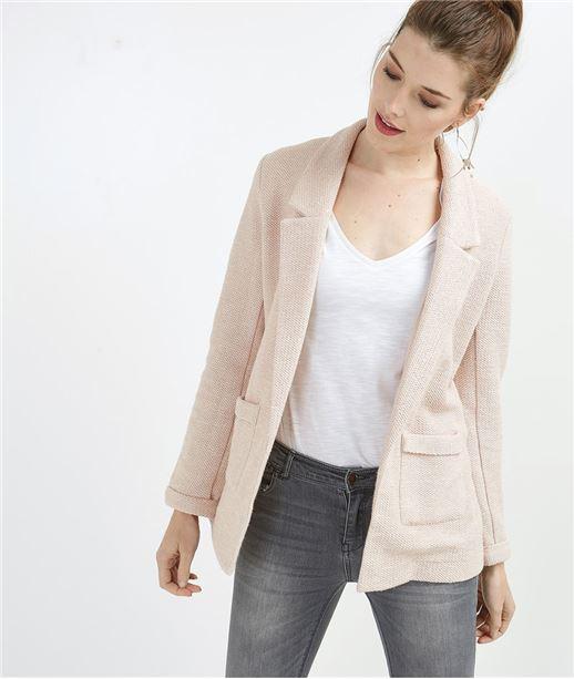 Veste tailleur femme en maille ROSE