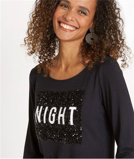 T-shirt femme manches 3/4 avec message NOIR