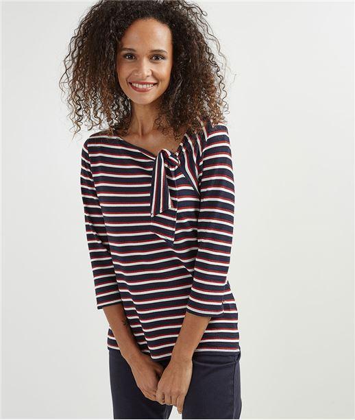 T-shirt femme esprit marinière MARINE