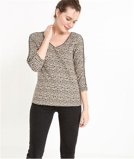 T-shirt manche 3/4 imprimé léopard BEIGE