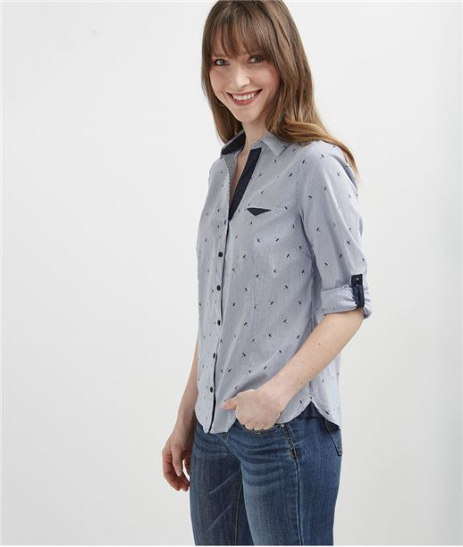 Chemise structurée femme à rayures RAYURE BLEU