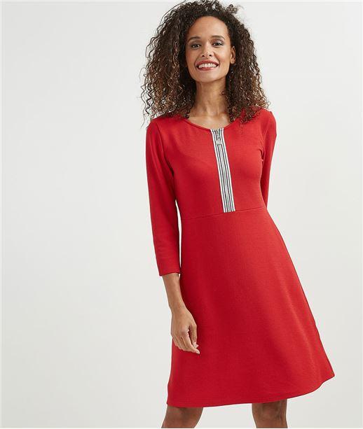 Robe femme avec zip poitrine ROUGE