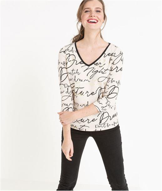 T-shirt femme imprimé écriture BEIGE