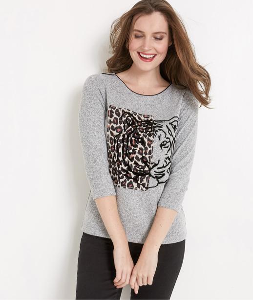 T-shirt femme imprimé tigre GRIS
