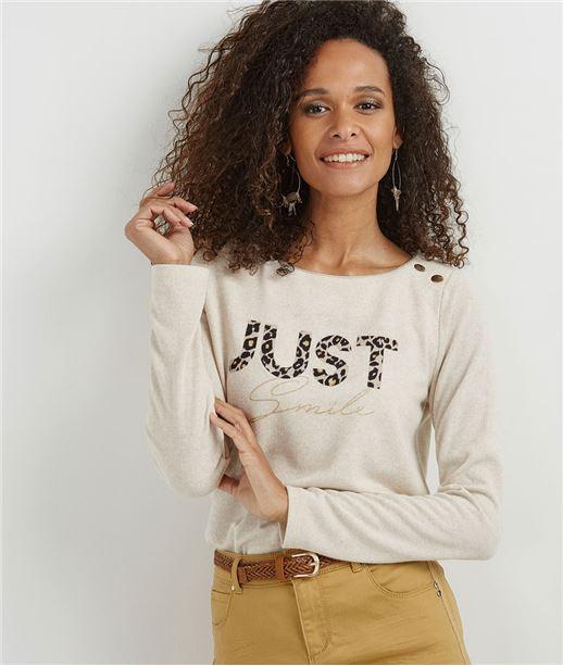 T-shirt femme avec message léopard BEIGE