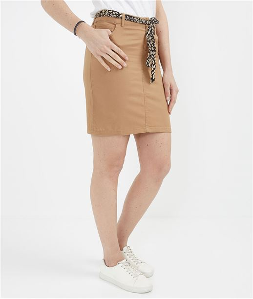Jupe femme en coton et ceinture foulard CAMEL