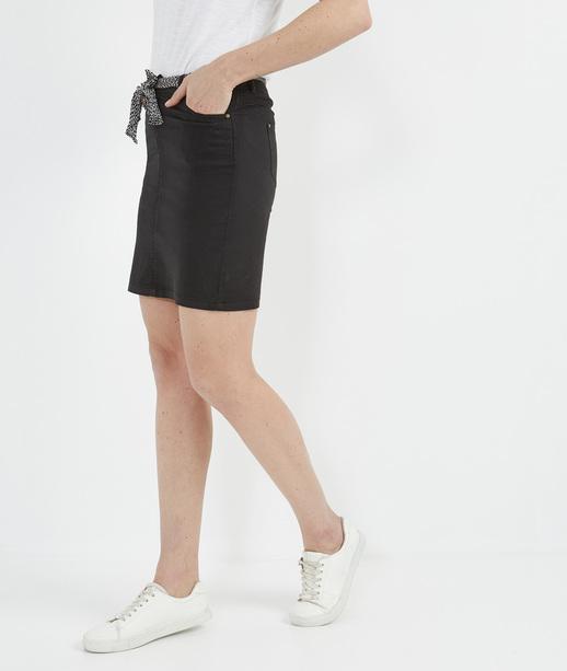 Jupe femme en coton et ceinture foulard NOIR