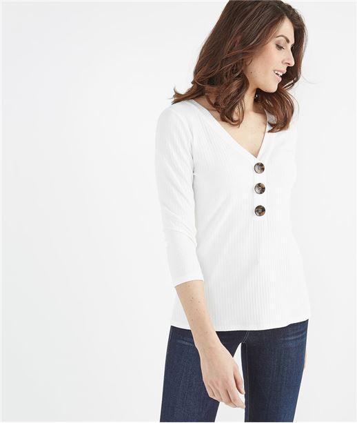 T-shirt femme col V avec boutons ECRU