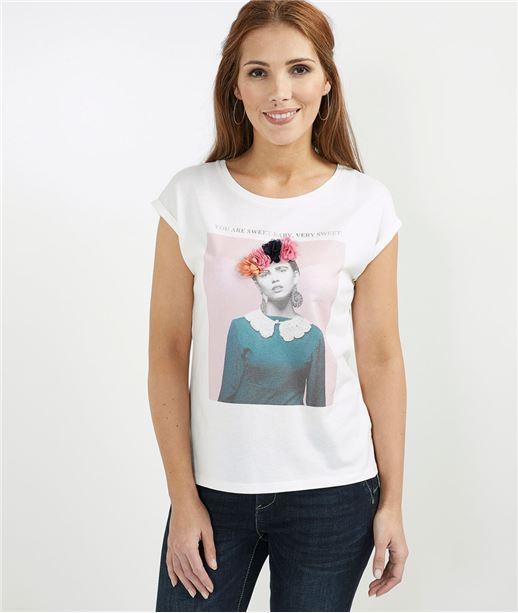 T-shirt femme imprimé avec fleurs BLANC