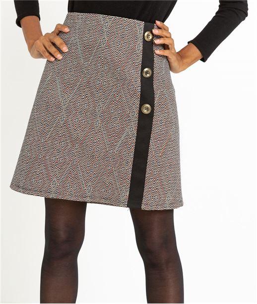 Jupe femme forme trapèze avec boutons MULTICOLORE