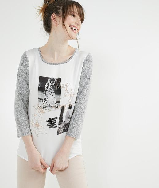 T-shirt bi-matières avec photos GRIS