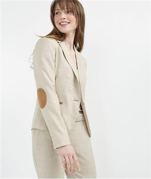 Veste tailleur avec coudières BEIGE