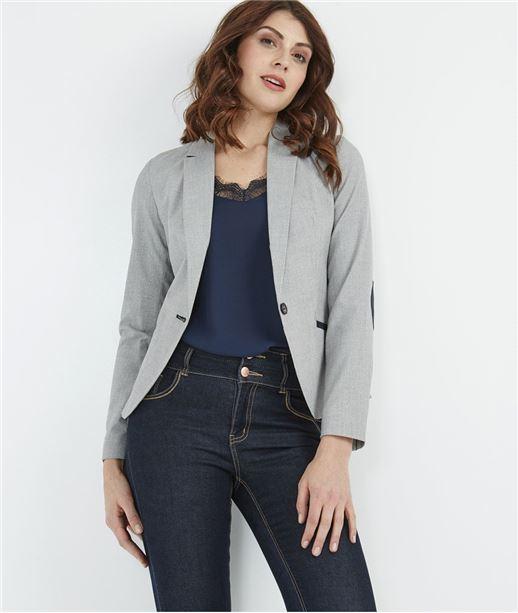 Veste tailleur femme avec coudières GRIS