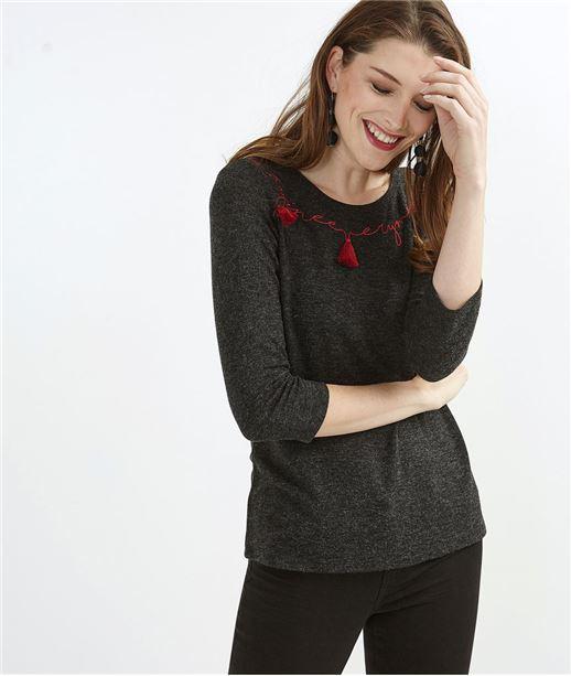 T-shirt femme avec message brodé GRIS