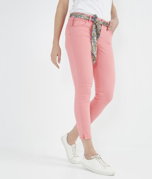 Pantalon 7/8ème de couleur avec ceinture PEACH
