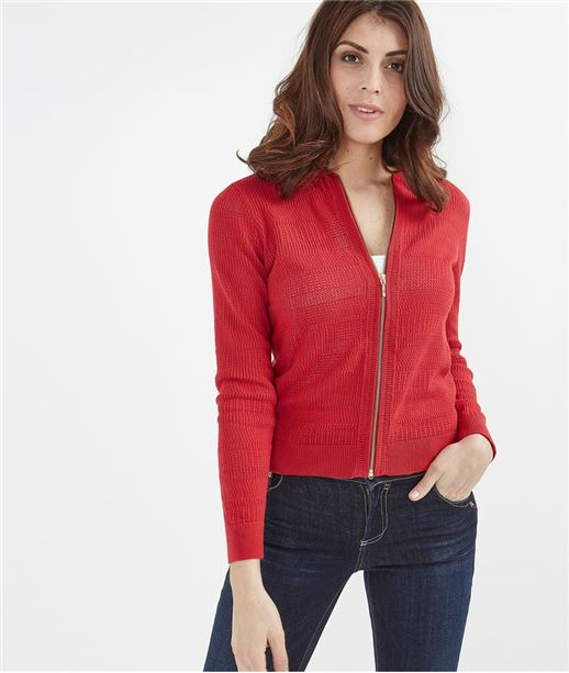 Gilet femme rouge avec zip ROUGE