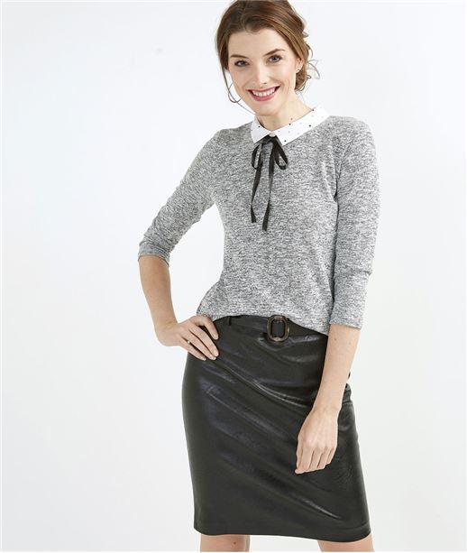 T-shirt femme avec lavallière GRIS