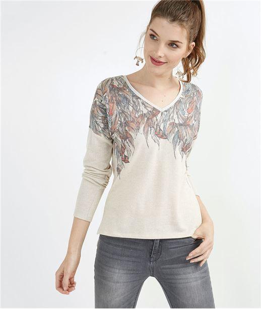 T-shirt femme imprimé plume BEIGE