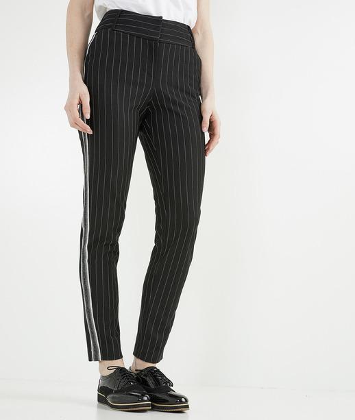 Pantalon femme fuselé à rayures NOIR
