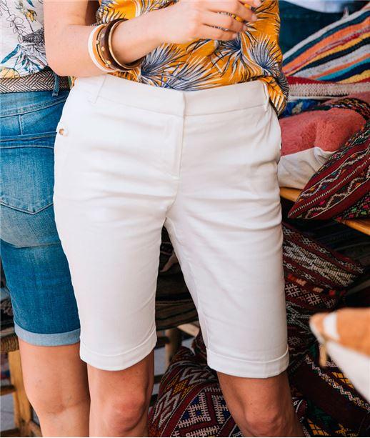 Bermuda femme en satin de coton uni BLANC