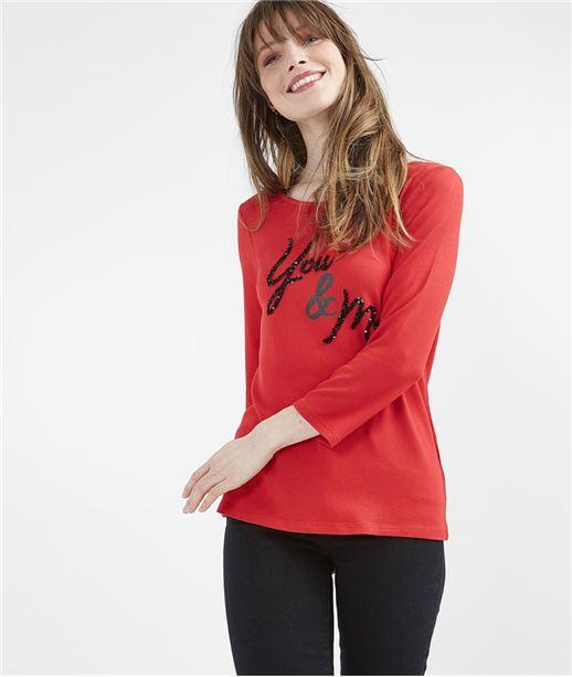 T-shirt femme rouge avec message ROUGE