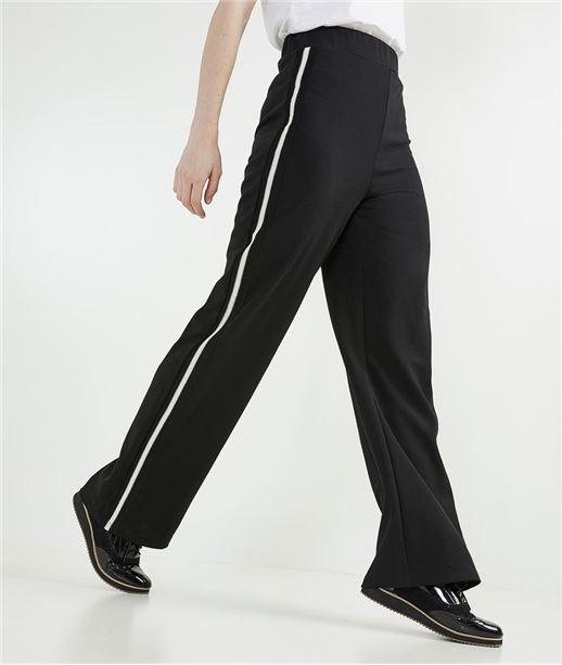 Pantalon femme large avec bandes côté NOIR