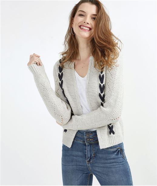 Gilet en tricot gris fantaisie GRIS