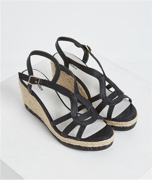 Sandales compensées noires NOIR