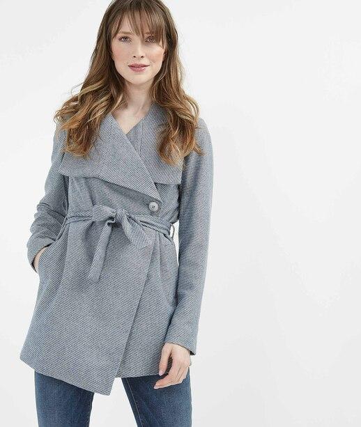 Manteau femme mi-saison avec ceinture BLEU