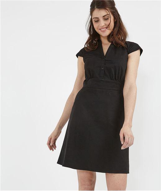 Robe femme en popeline noire NOIR