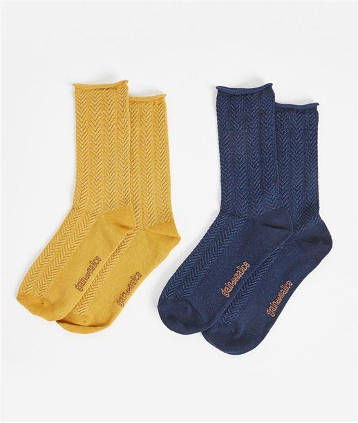 Lot de deux paires de chaussettes femme SAFRAN