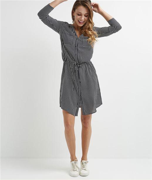 Robe chemise femme rayée BLEU