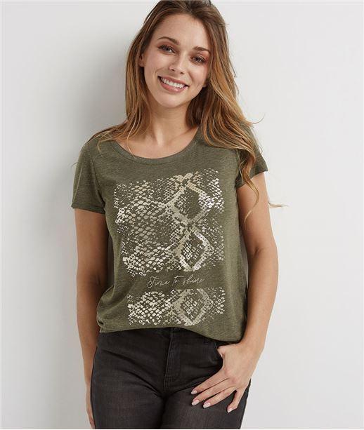 T-shirt femme avec imprimé brillant KAKI