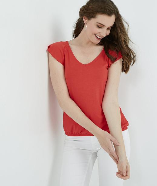 T-shirt femme uni base élastiquée ROUGE