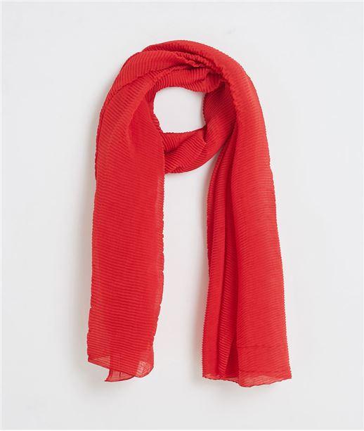 Foulard femme plissé rouge ROUGE