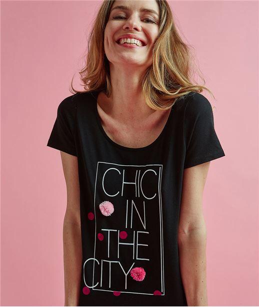 T-shirt femme imprimé avec pompons NOIR