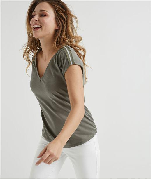T-shirt femme fluide avec rayures KAKI