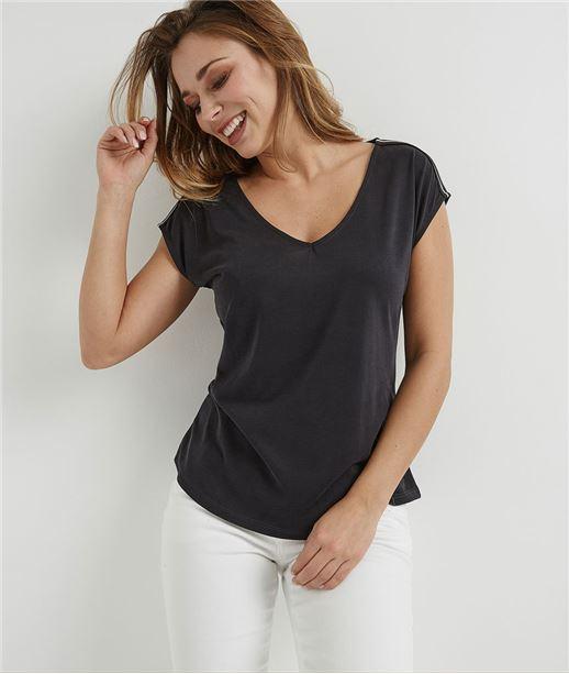 T-shirt femme fluide avec rayures GRIS