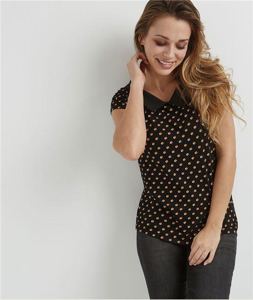 T-shirt femme à pois et col chemise NOIR