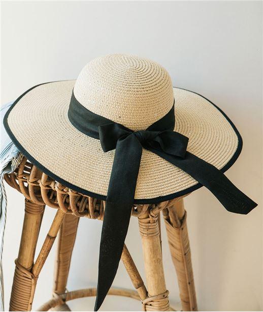 Chapeau de paille avec ruban noir NATUREL