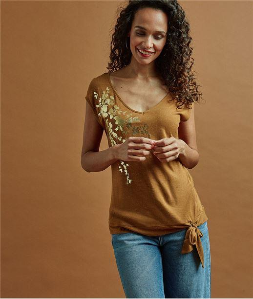 T-shirt femme caramel imprimé fleurs CARAMEL