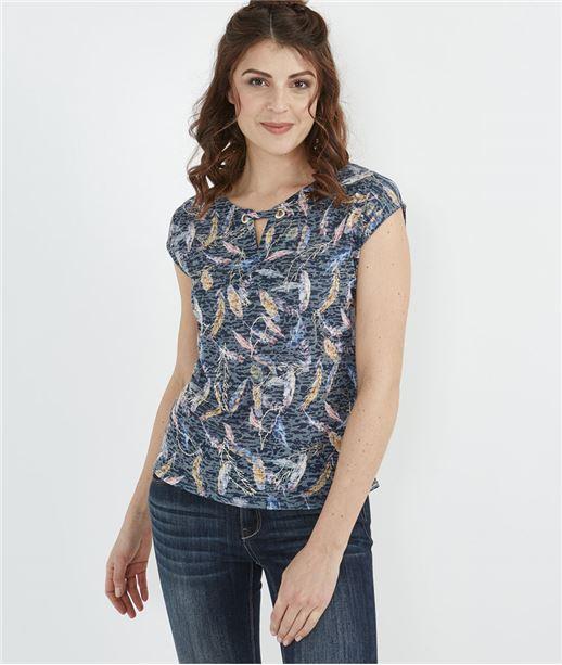 T-shirt femme imprimé plumes MARINE