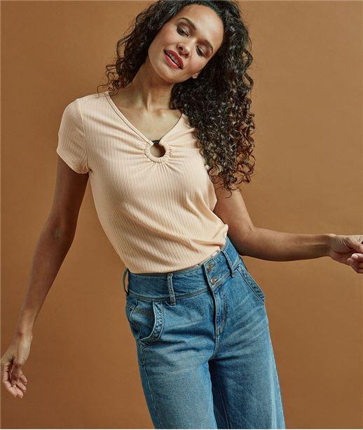 T-shirt femme avec boucle poitrine BEIGE