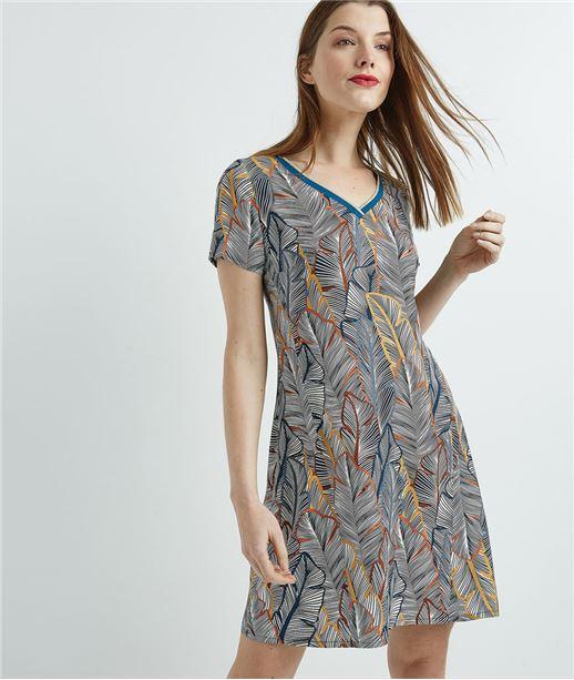 Robe femme imprimée manches courtes BLEU
