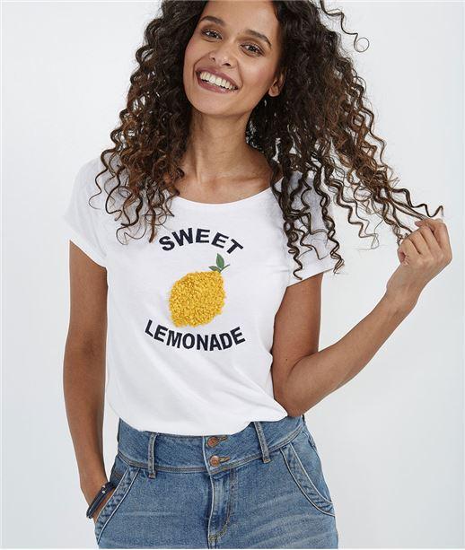 T-shirt femme avec citron en relief BLANC