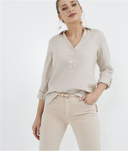 Blouse femme 100% lin col chemise SABLE