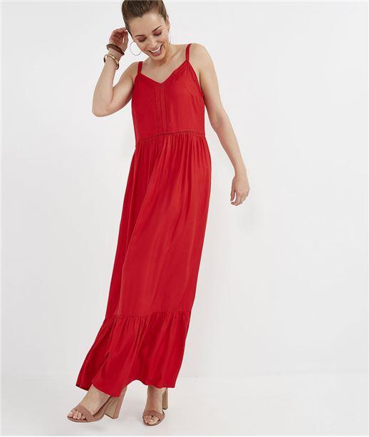 Robe rouge longue à bretelles ROUGE