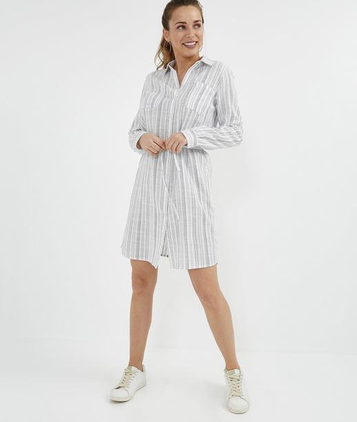 Robe chemise 100% coton rayée BLEU