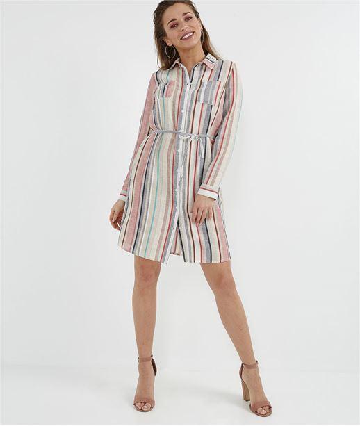 Robe chemise 100% coton rayée MULTICOLORE